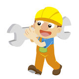 Vector illustration of a builder in yellow helmet Royalty Free Stock Images