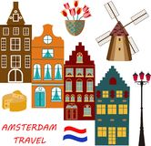 Vector Illustration of building Amsterdam outline for Design, Website, Background, Banner, Card. Travel Holland Landmark. Vector Illustration of building stock illustration