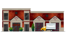 Vector illustration of building facade. Facade view of old brick building with showcases and molding. Can be used as hospital, hotel, mall, pastry shop, or Stock Images