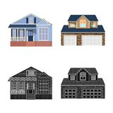 Vector illustration of building and front sign. Collection of building and roof stock symbol for web. stock illustration