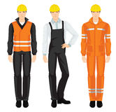 Vector illustration of building team. Man worker in protective wear and helmet isolated on white background Royalty Free Stock Photography