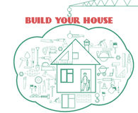 Vector illustration with building web icons around cute house. Build your house. Vector illustration with building web icons around cute house Stock Image
