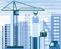 Vector illustration of buildings constructions site and cranes. skyscraper under construction. excavator, tipper at sky royalty free illustration