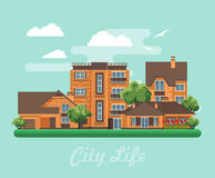 Vector illustration with buildings, detached house, semi-detached house, bungalow, mansion, high-rise building and flowers. Modern flat style royalty free illustration