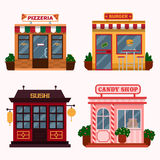 Vector illustration of  buildings that are restaurants, cafe, fast food. Royalty Free Stock Images