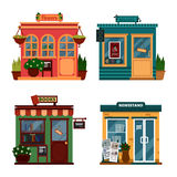 Vector illustration of buildings that are shops for buying decorations and leisure accessories. Set of nice flat shops Stock Images