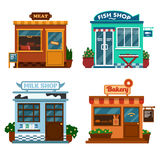 Vector illustration of  buildings that are shops for buying food. Royalty Free Stock Images