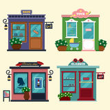 Vector illustration of buildings that are shops for buying presents. Set of nice flat shops. Different Showcases - Royalty Free Stock Image
