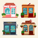 Vector illustration of buildings that are shops for buying presents. Set of nice flat shops. Different Showcases - Royalty Free Stock Images