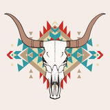 Vector illustration of bull skull with ethnic ornament Stock Photos