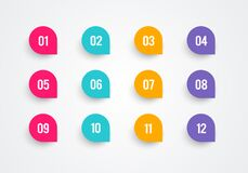 Free Vector Illustration Bullet Point Set. Marker In Retro Color. Pins With Number 1 To 12. Stock Images - 173927834