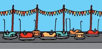 Bumper cars in carnival. Vector illustration of bumper cars in carnival Royalty Free Stock Images