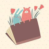 Vector illustration of bunny and bear from the book Stock Photo