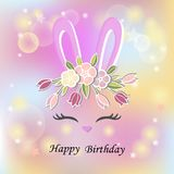 Vector illustration with Bunny ears, smiling eyes, floral wreath. Cute Rabbit as Baby shower & Easter logo, pet shop, badge. Template for Baby Birthday, Easter Stock Images