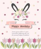 Template for Baby Birthday, Easter Day, party invitation, greeting card. Vector illustration with Bunny ears, smiling eyes, floral wreath. Cute Rabbit as Baby vector illustration