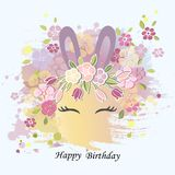 Vector illustration with Bunny ears, smiling eyes, floral wreath. Cute Rabbit as Baby shower & Easter logo, pet shop, badge. Template for Baby Birthday, Easter Stock Photography