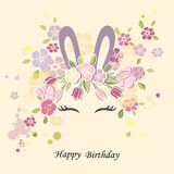 Vector illustration with Bunny ears, smiling eyes, flower wreath. Cute Rabbit as Baby shower & Easter logo, pet shop, badge. Template for Baby Birthday, Easter Royalty Free Stock Images