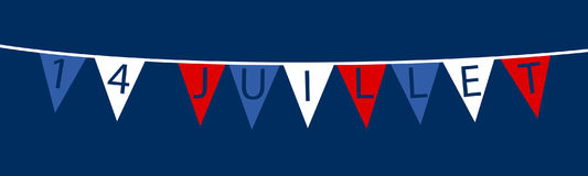 Vector illustration of bunting in French national colors reading `14 Juillet` on dark blue. Vector illustration of garland banner in French national colors Stock Illustration