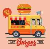 Vector illustration of burger. Truck in flat style Royalty Free Stock Photography