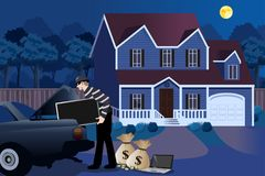 Burglar Stealing From a House Illustration Royalty Free Stock Photo