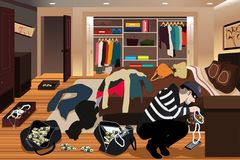 Burglar Stealing Jewelries From a House Illustration Stock Images