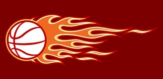 Decal vector illustration of burning basketball ball icon and flame. Vector illustration of burning basketball ball icon with hot rod flames. Ideal for sticker Stock Photo