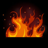 Vector illustration of burning fire on a black background. Flames and smoke Royalty Free Stock Photography