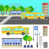 Vector illustration of bus stop. Royalty Free Stock Images