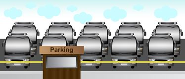 Buses in the parking lot. Vector illustration of buses in the parking lot Stock Photo