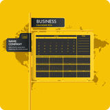 Vector illustration with business calendar 2016 and map. Business calendar 2016. Illustrations for design, website, infographic, poster, advertising on a yellow Royalty Free Stock Photography