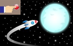 Finger Pushes Button To Turn Rocket To The Moon. Vector Illustration Business Concept As Finger Pushes A Button To Turn A Rocket To The Shinning Blue Full Moon Stock Photo