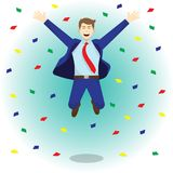 Happy Jumping Businessman Among Colorful Papers Royalty Free Stock Images