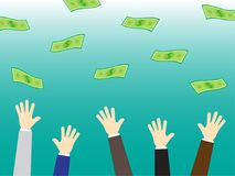 Businessmen Arms Reach For Money royalty free illustration