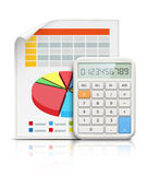 Business concept. Vector illustration of business concept with finance graphs and electronic calculator Royalty Free Stock Images