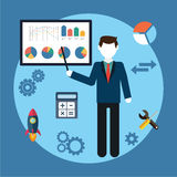 Vector illustration business concept , man, businessman character,  graphics on the white board, flat style Stock Photos