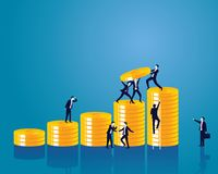 Businessman and Money Concept. VectorIllustration. Vector illustration. Business economic financial concept. Businessman and pile of coins. Coins stack Stock Photos