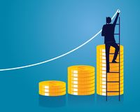 Businessman and Money Concept. Vector Illustration. Vector illustration. Business economic financial concept. Businessman and pile of coins. Coins stack Royalty Free Stock Images