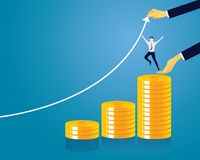 Businessman and Money Concept.. Vector illustration. Business economic financial concept. Businessman and pile of coins. Coins stack, investment revenue wealth Royalty Free Stock Images