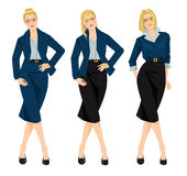 Vector illustration of business girl or teacher. In blue formal suit isolated on white background. Woman in glasses. Different hairstyle Royalty Free Stock Photos