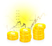 Vector illustration of business graph with coins. On white Royalty Free Stock Image