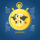 Vector illustration for business infographic. S with money, world map, stopwatch and design elements on a dark bllue background Stock Images