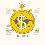 Vector illustration for business infographic. S with money, world map, stopwatch and design elements on a white background Royalty Free Stock Photography