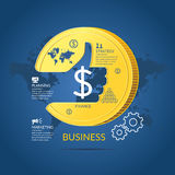 Vector illustration for business infographics with money. Business infographics. Vector illustration for business infographics with money, world map and design Royalty Free Stock Photo