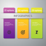 Vector illustration of business infographics 3 options . Rectangles with rounded corners.  Stock Photography
