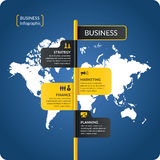 Vector illustration for business infographics. Vector illustration for business infographics with world map and design elements on a dark blue background Royalty Free Stock Photos
