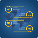 Vector illustration for business infographics. With world map and design elements on a dark blue background Royalty Free Stock Photos
