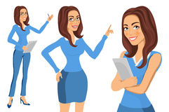 Vector illustration of business lady or professor in formal blue clothes  on white. Brunette woman holding Royalty Free Stock Image