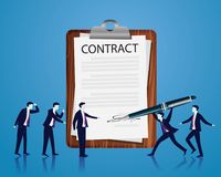 Contract Signing Legal Agreement Concept. Vector Illustration Royalty Free Stock Photography