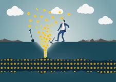 Vector illustration of business man discovering a vein of gold dollars. Concept of success and wealth.  Stock Images
