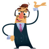 Vector illustration business man with suit and geek glasses pres. Businessman with suit, tie and glasses presentation making a showing gesture with his hand Royalty Free Stock Images